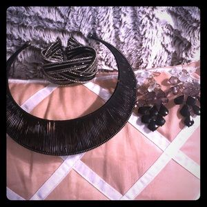 Black Slide Necklace, Bracelet and Earring